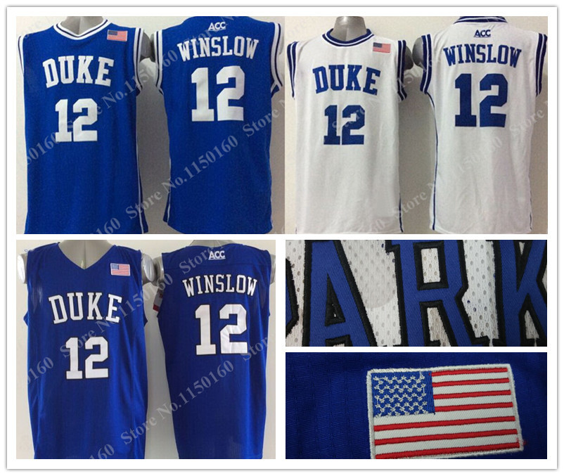 Hot Sale #12 Justise Winslow Duke Jersey Blue Devils College Basketball Jersey New Style Blue White Embroidery logo Factory(China (Mainland))
