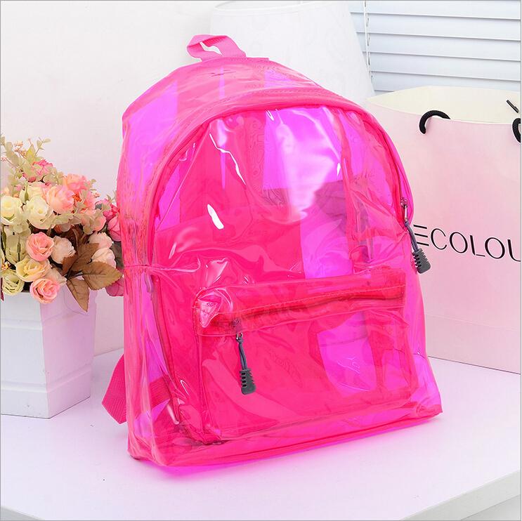 2015 Summer Solid Transparent Student Backpack High quality PVC Waterproof Jelly Boy/Girl Travel School Bags mochila feminina(China (Mainland))