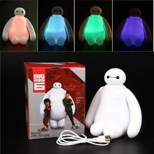 1PC Color Changing Big Hero 6 Baymax USB LED Table Light Creative Desk Lamp 16cm Cartoon Nightlight Kids Gift Home Decor 2015(China (Mainland))