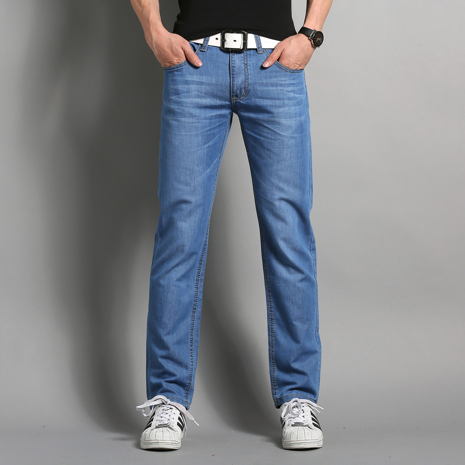 Fashion Menu0026#39;s Sky Blue Jeans Summer Thin Cool Jean Pants Leisure Casual Trousers Fitted Male ...