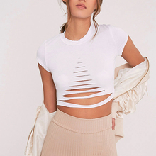 Buy Summer Ladies Sexy Crop Tops Black White Hollow T-Shirt Top Tee Short Sleeve Cropped Women Punk Hip Hop T Shirts Tees W2 for $3.98 in AliExpress store