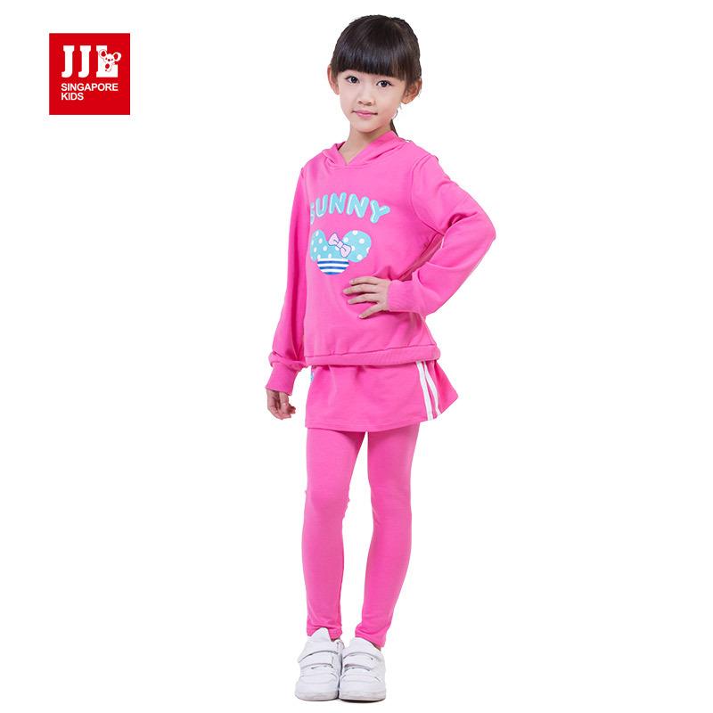 girls suit hoodie sweatshirt + skort size 4-11 years kids casual clothes 2015 new arrival children winter suits kids clothes asics юбка skort