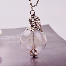 Dandelion Seeds Wish Pendant Leaf Butterfly Glass Ball Maxi Necklace Wedding Engagement Jewelry Birthday Gift
