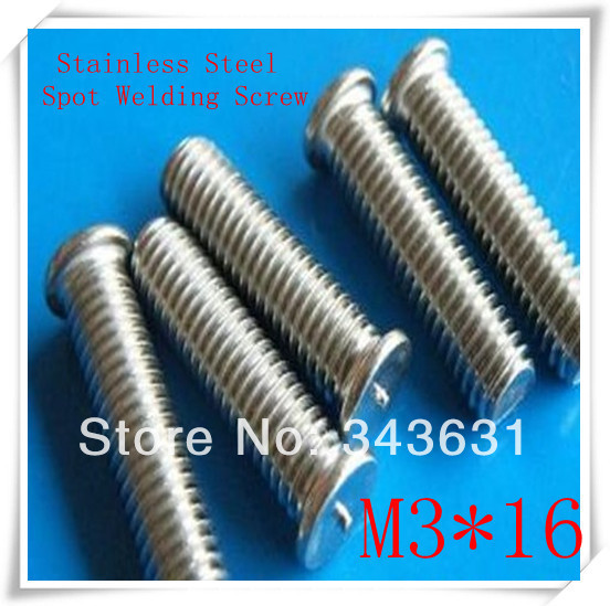 200PCS/LOT  High  Quality M3*16 Stainless Steel  CD Welding Stud Welding Screws Spot  Welding Studs Weld Bolt<br><br>Aliexpress