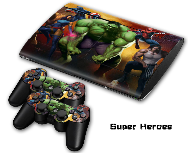 1Set Custom Protective Super Heroes Vinyl Decal Skin Sticker for PS3 Console Super Slim 4000+2PCS Stickers for PS3 Skins Games(China (Mainland))