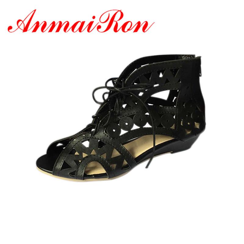 ANMAIRON Big Size 34-43 Fashion Cutouts Lace Women Sandals Open Toe Low Wedges Bohemian Summer Shoes Beach shoes women - Savvy store