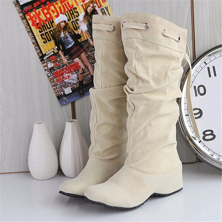 New Arrival Women Snow Boots Knee High Boots Shoes Thick Sole Heels Platform Shoes Casual Dress Slip On  Autumn Winter Boots
