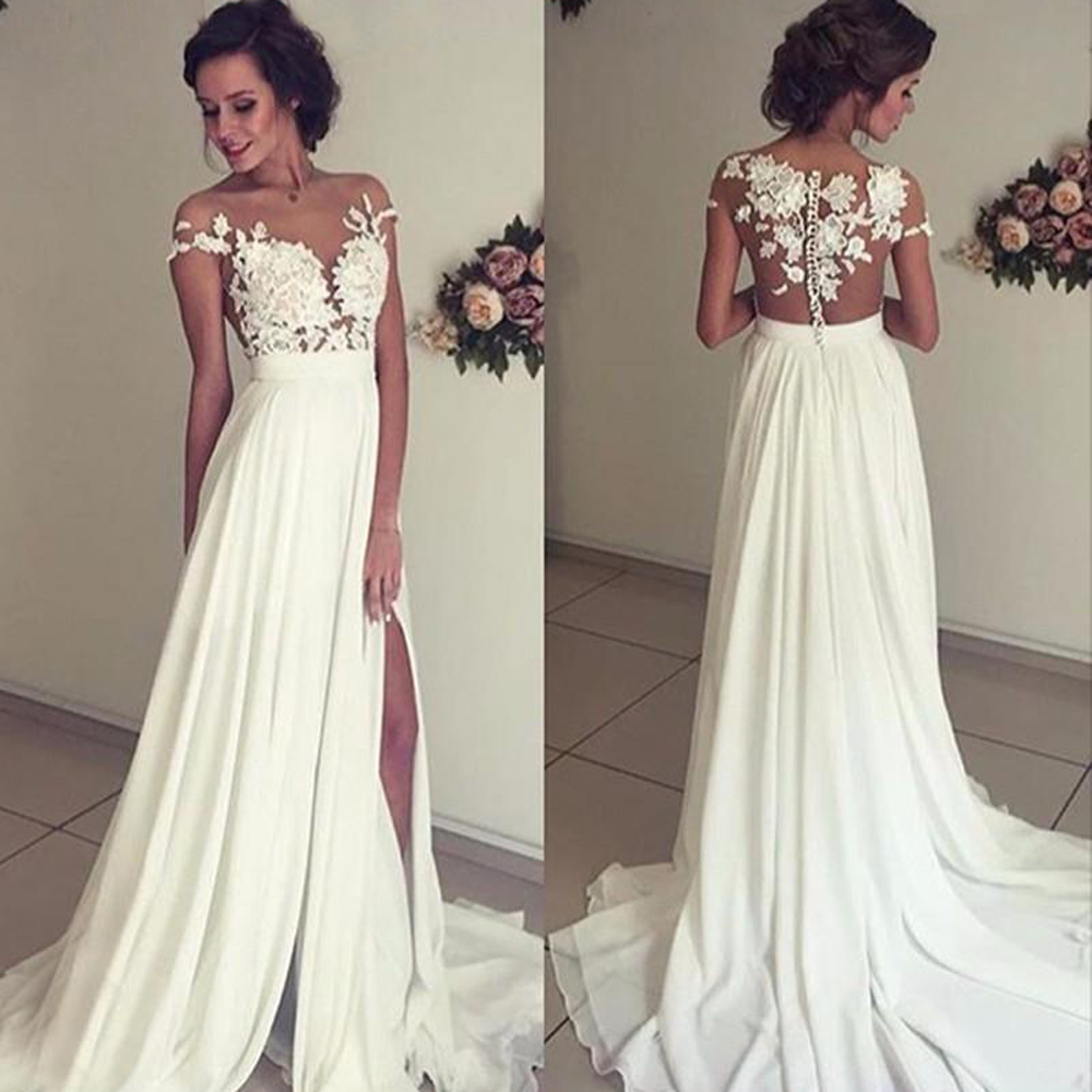 Popular Vintage Boho Lace Cap Sleeve Wedding Dress-Buy Cheap ...