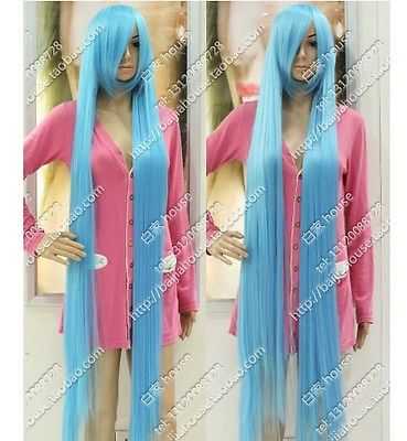 150CM COS Wig Light Blue Long Straight Hair Fashion Sexy Wig Kanekalon fibre no Lace Front Wigs Free deliver<br><br>Aliexpress