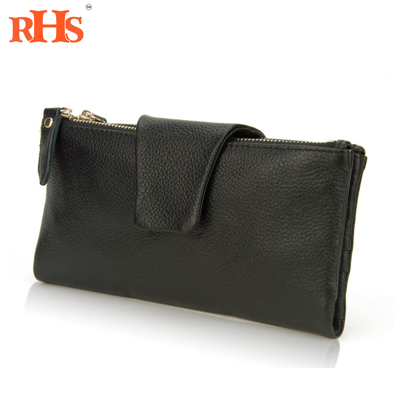Women 100% Soft Genuine Real Leather Bifold Wallet Snap Credit Card Holder Coin Zip Purse Wholesale Bill Money Long Clutch Bag(China (Mainland))