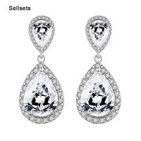 Luxury Excellent Cut Cubic Zircon Drop Earrings CZ Crystal  Jewelry  Bridal Wedding  Earrings For Women