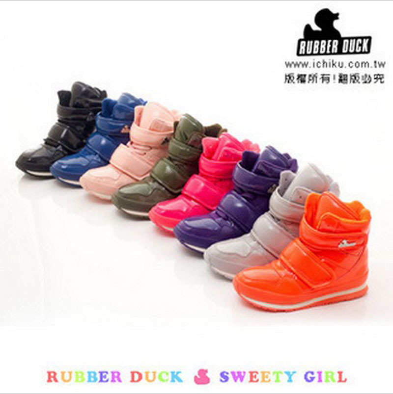 Free shipping 2014 new design Rubber duck waterproof snow boots jogging women shoes multicolor S4786(China (Mainland))