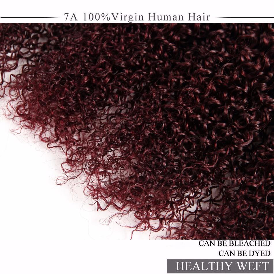 7A Burgundy Brazilian Hair 99J Kinky Curly Virgin Hair Wine Red Brazilian Curly Hair 4 Bundles Curly Weave Human Hair More Wavy