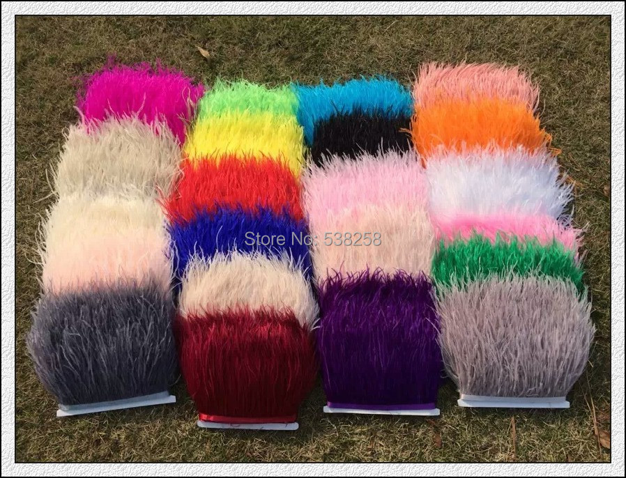 Free shipping multicolor 10meter/lot pprox13-15cm Ostrich Fringe Feathers Jewelry/ Craft /Dress/ Hat Decor Ostrich Feather Trim(China (Mainland))