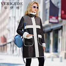 Veri Gude Women Faux Fur Coat Long Overcoat for Winter Faux Leather Patchwork High Quality(China (Mainland))