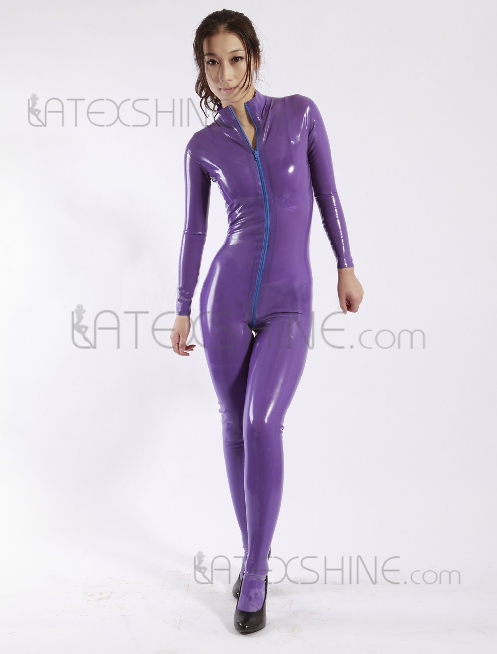 buy grace purple zipper women 39 s latex catsuits latex full suit with socks from. Black Bedroom Furniture Sets. Home Design Ideas