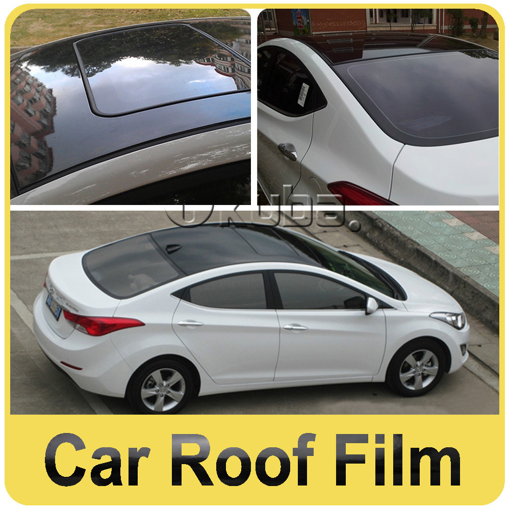 Fedex Free Shipping 3 Layers Glossy Black Auto Roof Films With Air Free Bubble for Vehicle Size:1.35*15m/roll(China (Mainland))