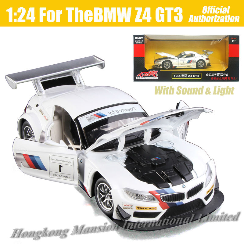 1:24 Scale Luxury Alloy Metal Diecast Racing Car Model For TheBMW Z4 GT3 Collection Class Model Toys Car With Sound&Light -White(China (Mainland))