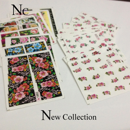 Colorful Nail Sticker Water Transfer Flower Design Paper Art Tips Mixed Pattern Decals 5DIY T001 - Nc Concept Center store