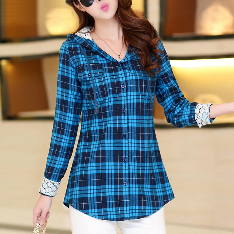Hot new plaid shirt women slim fit hooded check plaid for Women s slim fit flannel shirt