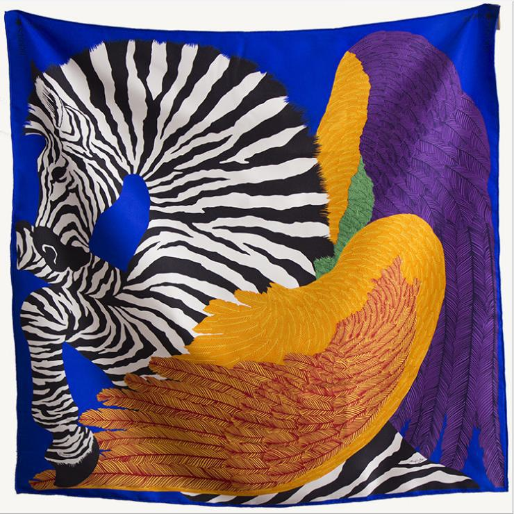 NEW! Wing Zebra Pattern Women Square Shawl,100% Pure Silk Twill Satin Lady Scarf,High Quality Women's Printed Scarves135*135CM
