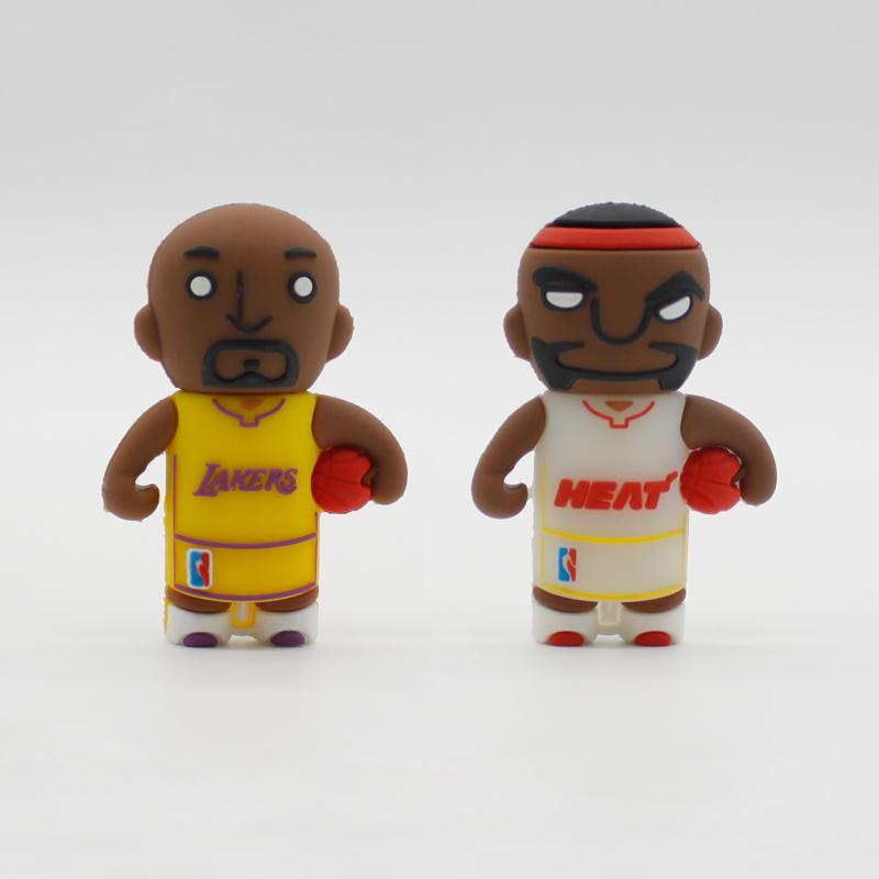 Basketball Player Cartoon USB Flash Drive Pendrive 4gb 8gb 16gb 32gb Flash Card Lakers Team Boy Gift Flash Drive Free Shipping(China (Mainland))