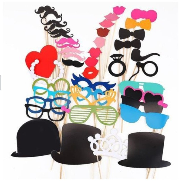 44PCS fashion wedding Photo Props booth Party Favor /party photography props Birthday party wedding decoration Baby shower props(China (Mainland))