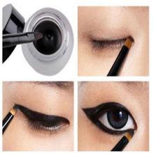 NEW Black Eye Liner Eyeliner Shadow Gel Cosmetic + Brush Waterproof Makeup