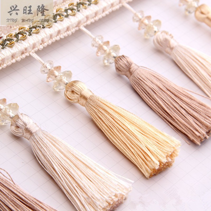 XWL 12M/lot 12cm Wide Tassel Crystal Beads Curtain Lace Accessories Drapery Fringes Trim Ribbon DIY Sewing Home Textile Decor(China (Mainland))
