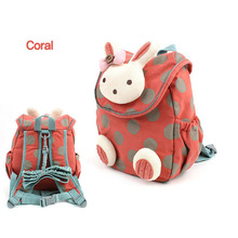 2016 new fashion animal style school bag cute 3d rabbit plush backpack, children schoolbags for girls kindergarten free shipping(China (Mainland))