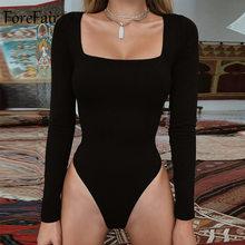 Forefair Sexy ceñido al cuerpo Bodysuit manga larga cuello cuadrado vaina abierta entrepierna básica blanco negro rojo overol mujeres Body Top(China)