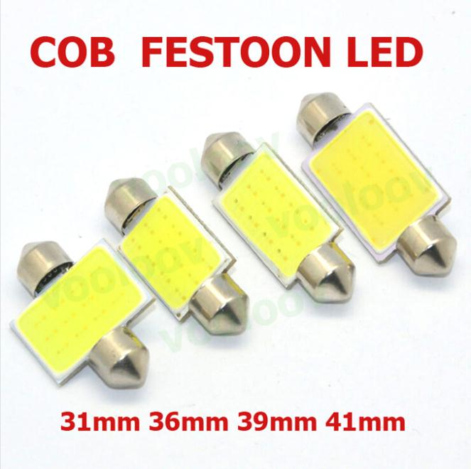 New Products 2pcs/lot 31mm/36mm/39mm/41mm 12V COB Festoon LED Car Bulb Auto Led Interior Light Lamps parking(China (Mainland))