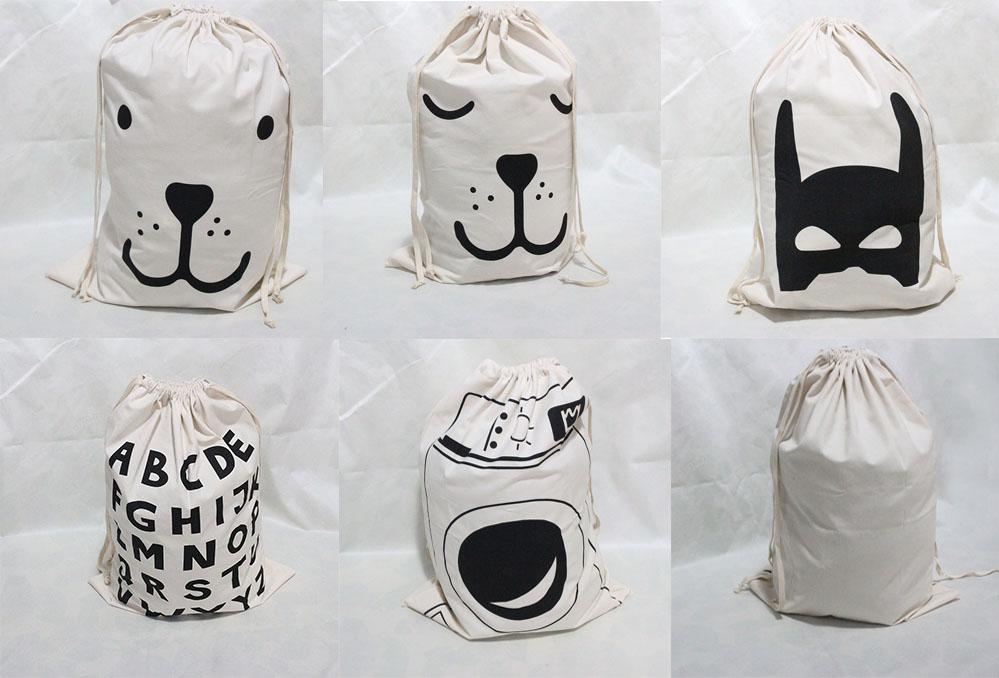 Kikikids ins 1pcs Brand New Cotton Drawstring Storage Bags 5 Styles Can Choose Baby Kids Toys Clothes Storage Organizer Pouches(China (Mainland))