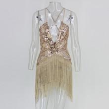 Feditch 2017 New Summer Tassel Dress Women Vestidos Sexy Women Evening Party Dress Backless Sequins Elegant Lady Dresses(China)