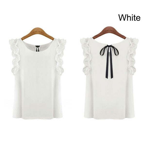 Women summer tops butterfly sleeve and bowknot chiffon blouse sarafan blouse FREE SHIPPING(China (Mainland))
