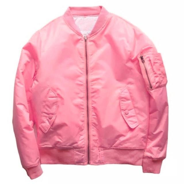 Розовый куртку 2016 уличная мода сплошной цвет хип-хоп куртки канье уэст