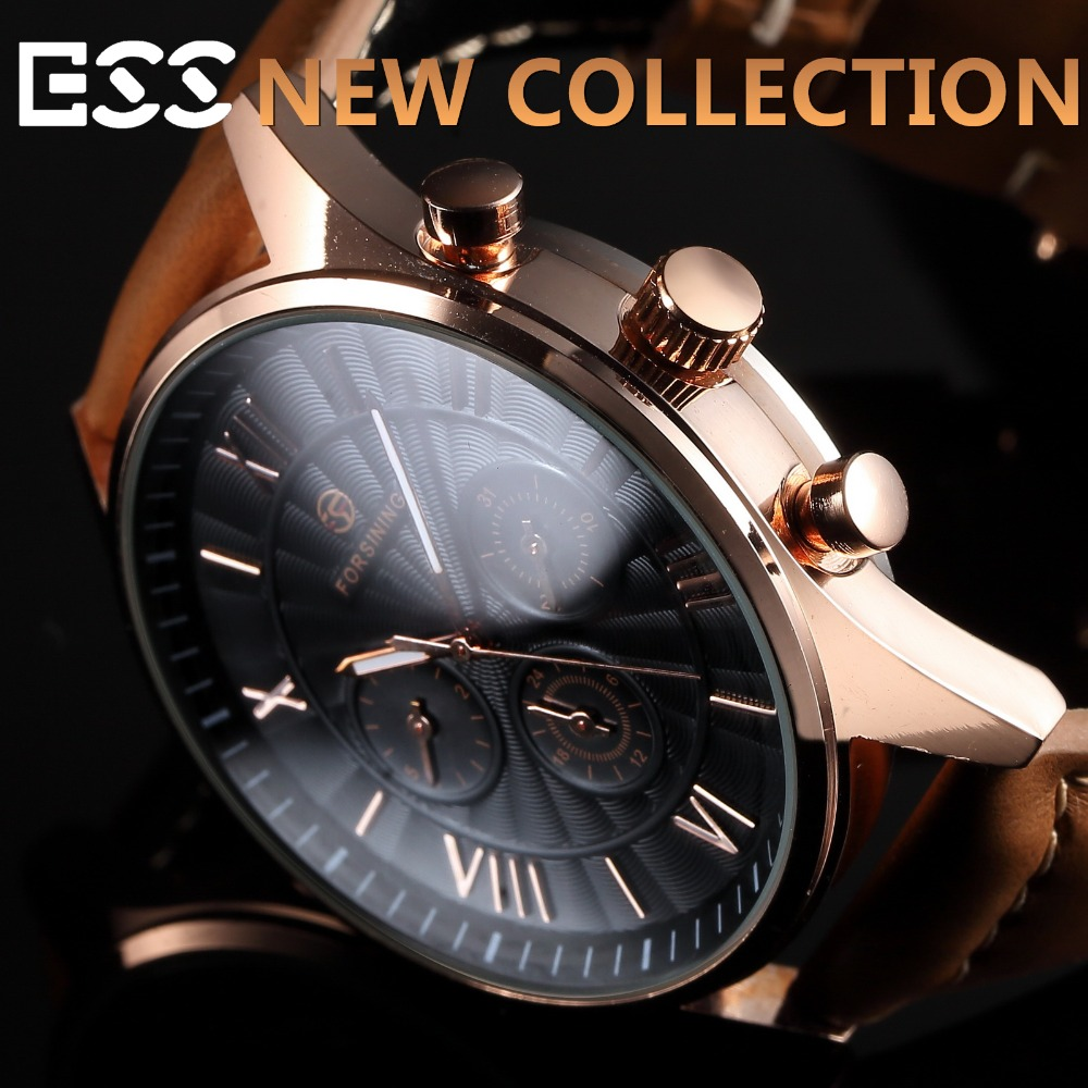 Brand New Men's black dial Luxury Classic Stainless Steel Case Automatic Leather Mechanical Watch WM463(Hong Kong)