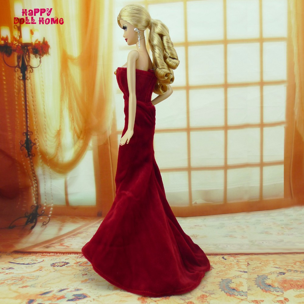 Strapless Fishtail Gown Maroon Robe Princess Costume With Purse Dollhouse Garments For Barbie Doll Equipment Toys Present