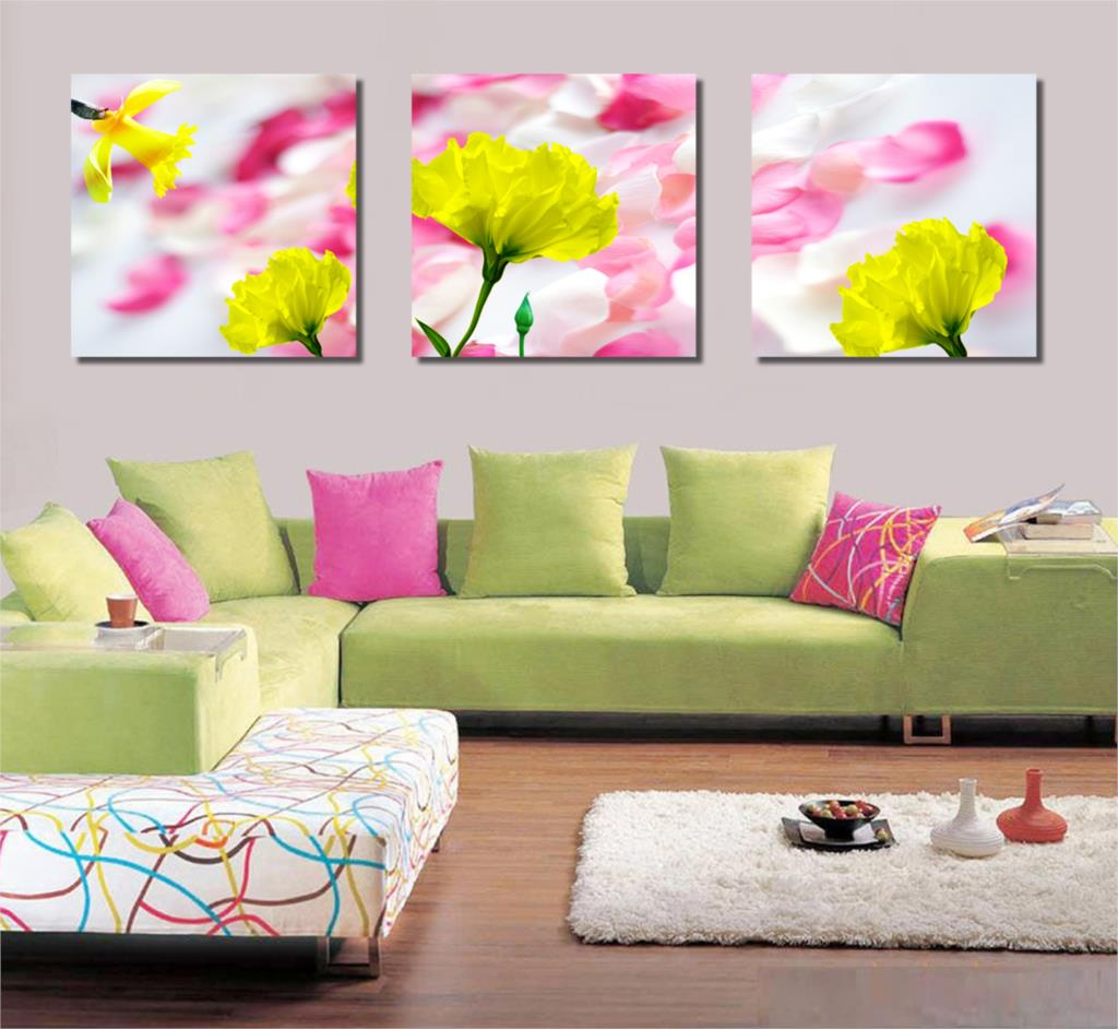 3 Piece Free Shipping abstract Modern Wall Painting purple yellow flower Home Decorative Art Picture Paint on Canvas Prints HH37(China (Mainland))