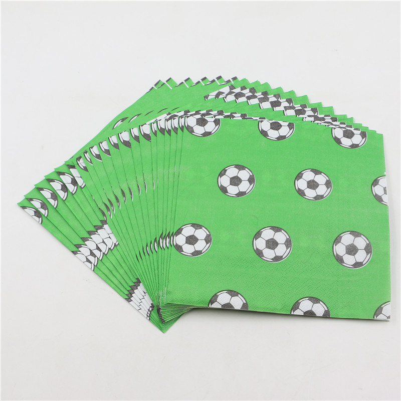 20pcs/pack Paper Napkins home 33*33cm green paper napkins soccer football printed paper boy birthday supplies(China (Mainland))