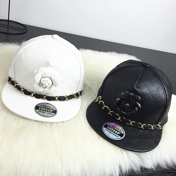 Top Quality Full Leather flower Chain Snapback Hats Sport Flat Baseball Adjustable Caps Black white Color Free Shipping