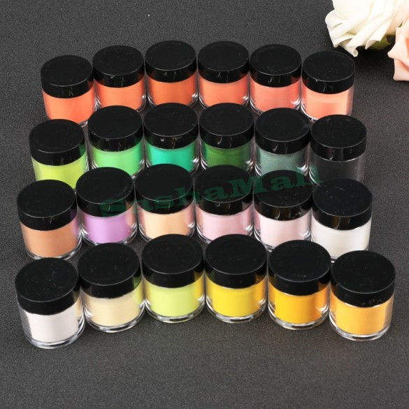 US Delivery 24 Colors Shiny Nail Art Glitter Powder Dust For UV Acrylic Nail Glitter Powder Decoration Tips US50(China (Mainland))