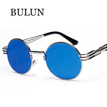 BULUN 2015 Retro Metal Round Sunglasses Women Men Brand Designer Vintage Steampunk Retro Circle Sun Glass Unisex Gafas De Sol