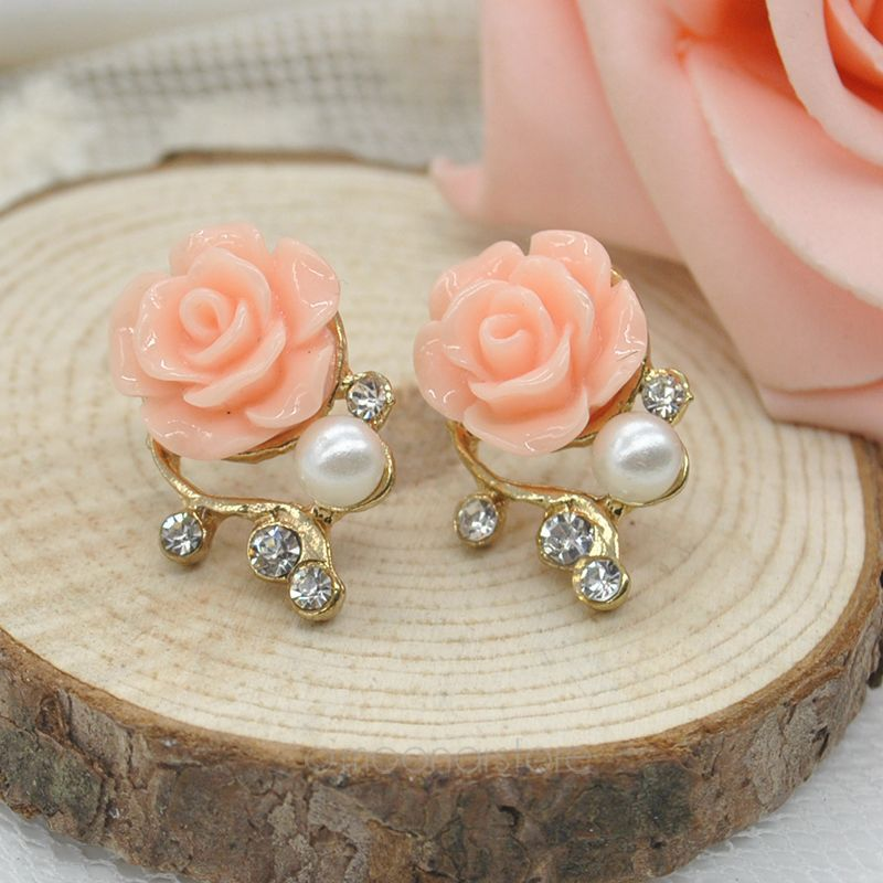 Local Stock, Fashion 3D Rose Flower Crystal Stud Earring Women Jewelry Pearl Earrings Ear Studs Earing Y57*MHM002#S7(China (Mainland))