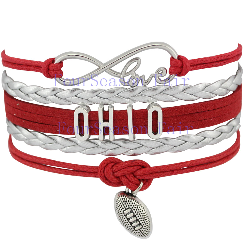 Custom- Infinity Love NCAA Ohio State Buckeyes Bracelet Gift for Sports Fans Football Fans Sport Leather bracelet-Drop Shipping(China (Mainland))