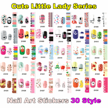 Cute Cartoon Little Lady Nail Art Sticker 42 Types 12pcs Decals Summer style makeup polish beauty tools manicure free shipping