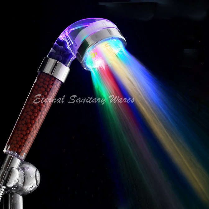 Tourmaline SPA Anion Pressurize Led shower head 7 colors Water Saving Bathroom Shower Head Led Shower Filter ABS(China (Mainland))