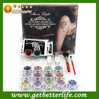 15 colors Glitter Tattoo kit brushes/glue/stencils PH-K002 free shipping