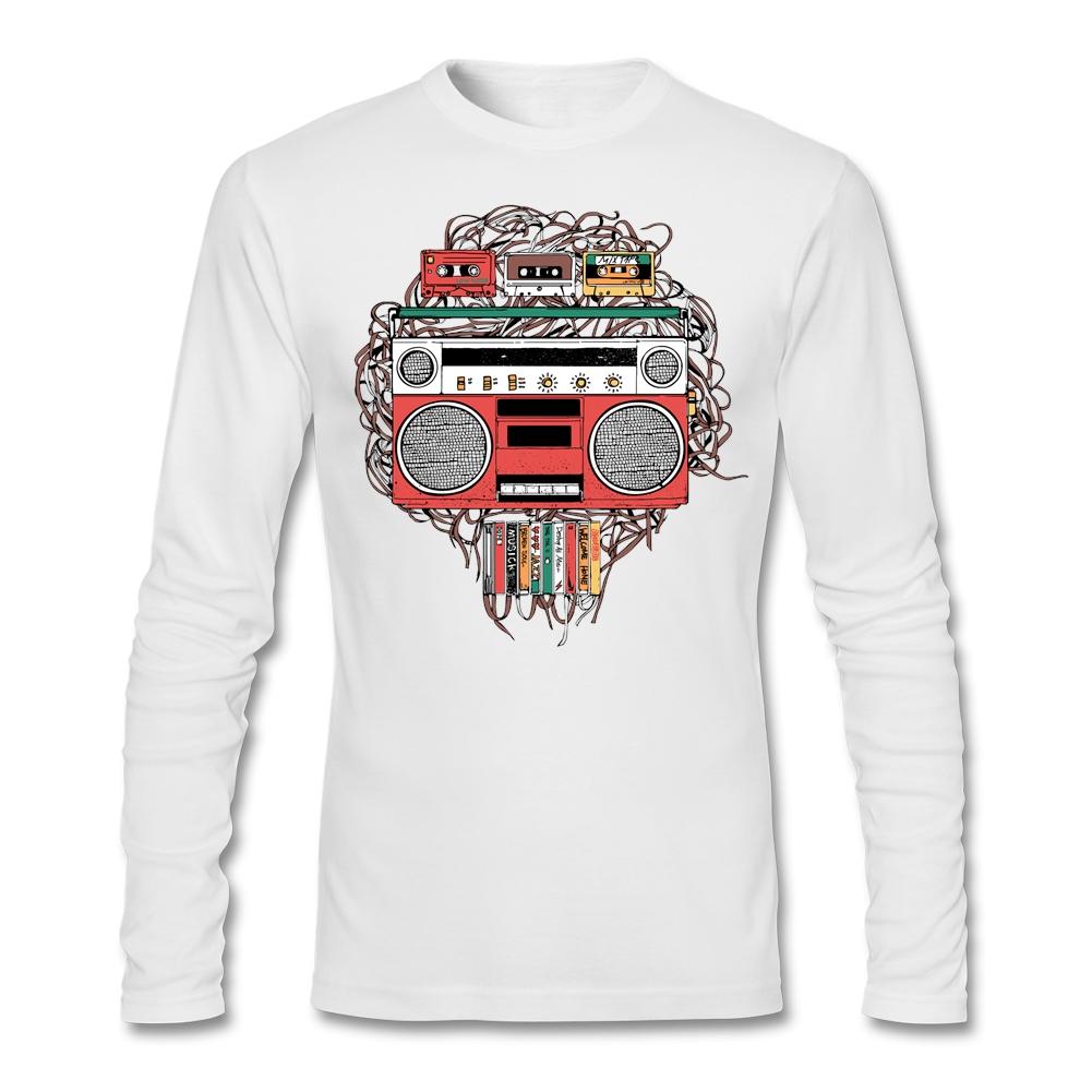 Classic Vintage Music Cassette Tape Radio T Shirt Men Long Sleeve Father's Day Custom Big Size Couple Backing Tshirt(China (Mainland))