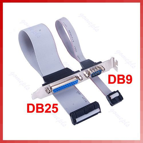 Free Shipping Serial Parallel PCI Slot Header 9 Pin Male DB9 DB25 Pin Female Cable Bracket Y106(China (Mainland))